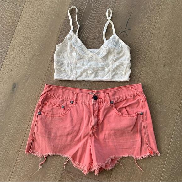Free People pink jean shorts